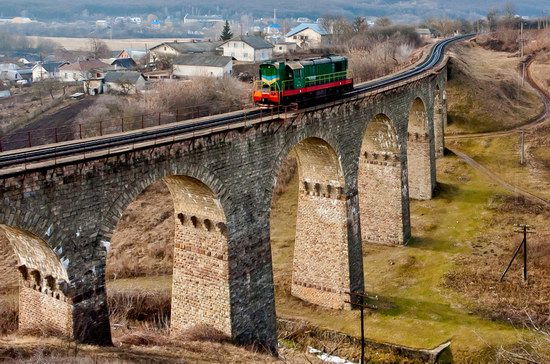 Nine-arch railroad bridge in the Ukrainian province