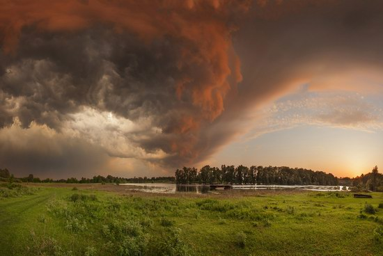The storm at sunset over Drobyshevo village, Chernigov region, Ukraine