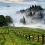Mystical fog over the Ukrainian Carpathians