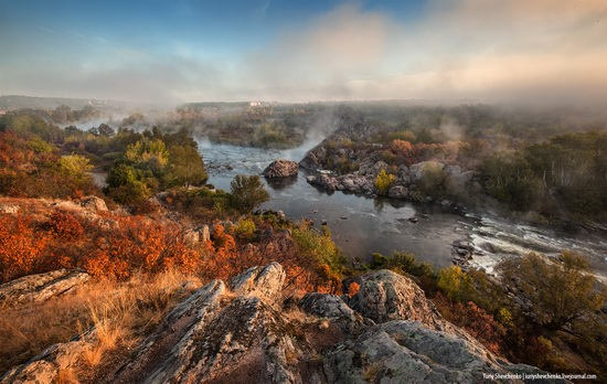 Wonderful autumn landscape - the Pivdennyi Buh river, Ukraine