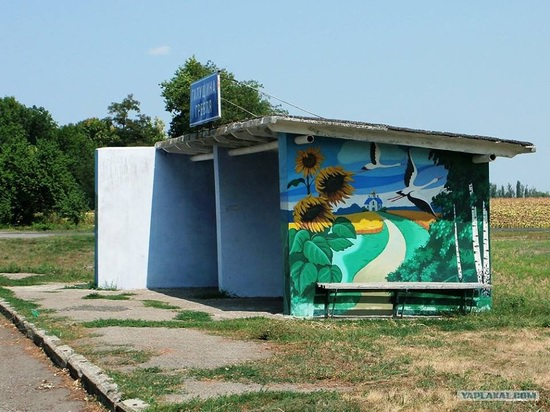 Painted bus stops in Poltava region, Ukraine, photo 2