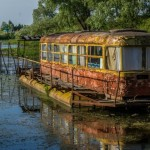 Abandoned river tram on the Desna River