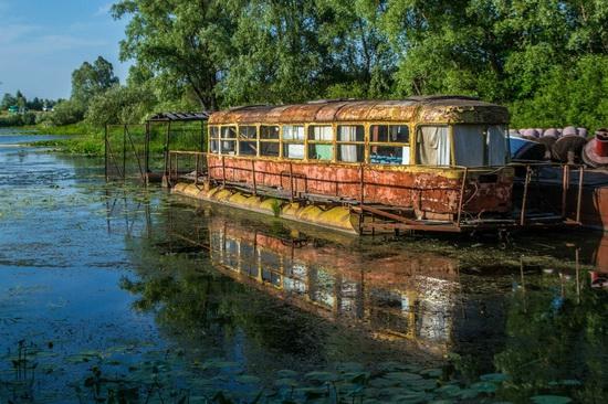 Abandoned river tram, the Desna River, Kyiv region, Ukraine