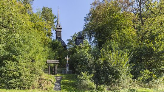 Gothic wooden church in Danilovo, Zakarpattia region, Ukraine, photo 2