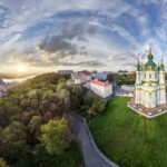St. Andrew's Church in Kyiv from above