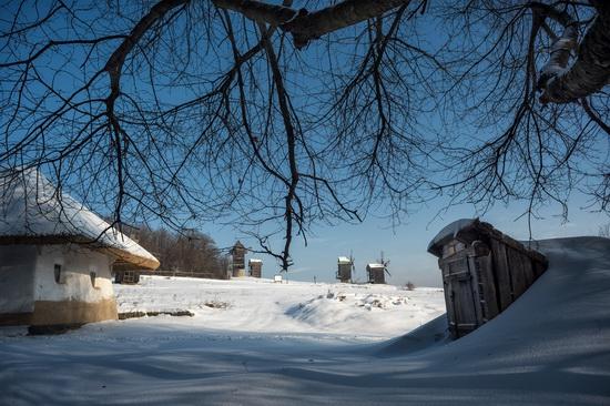 Snowy winter in the Pyrohiv Museum, Kyiv, Ukraine, photo 2