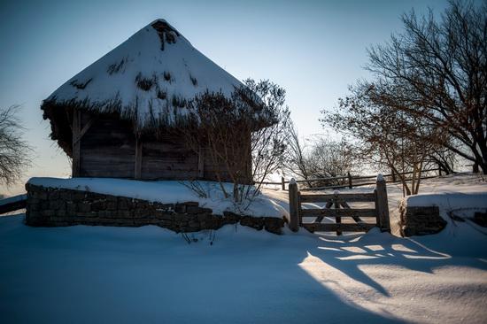 Snowy winter in the Pyrohiv Museum, Kyiv, Ukraine, photo 6