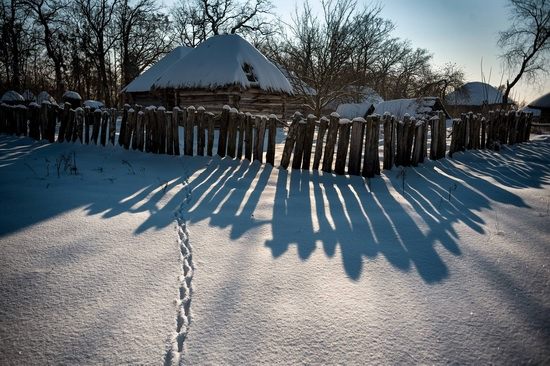 Snowy winter in the Pyrohiv Museum, Kyiv, Ukraine, photo 8