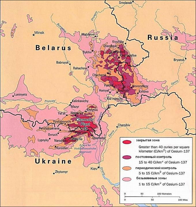 Radiation hotspots resulting from the Chernobyl nuclear plant accident