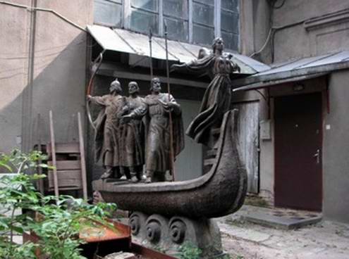 Kiev secret place - Small monument to Kyi, Schek, Horyv and their sister Lybid