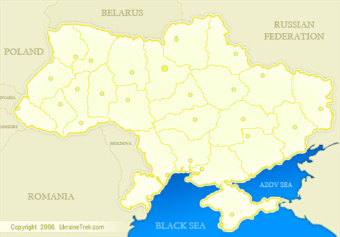 Map of Ukraine with main cities and towns