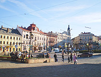 On the central square in Chernivtsi