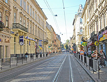 Street with tram ways in Lviv