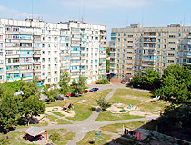 Courtyard of typical Soviet apartment buildings in Mariupol