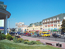 On a busy street in the center of Rivne
