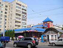 Small shops and an apartment building in Rivne