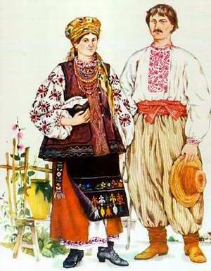 Ukrainians in traditional clothes