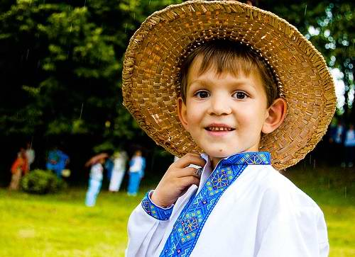 Ukrainian boy wearing national costume